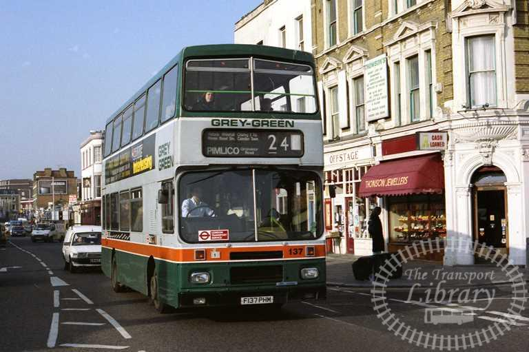 Grey Green Volvo B10M 137 F137PHM at Camden Town in 1993 on route 24 - Russell Fell