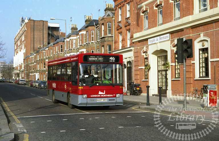 London Transport London Northern Dennis Dart Class DRL DRL37 K437OKH at St. Pancras in 1993 on route 46 - Russell Fell