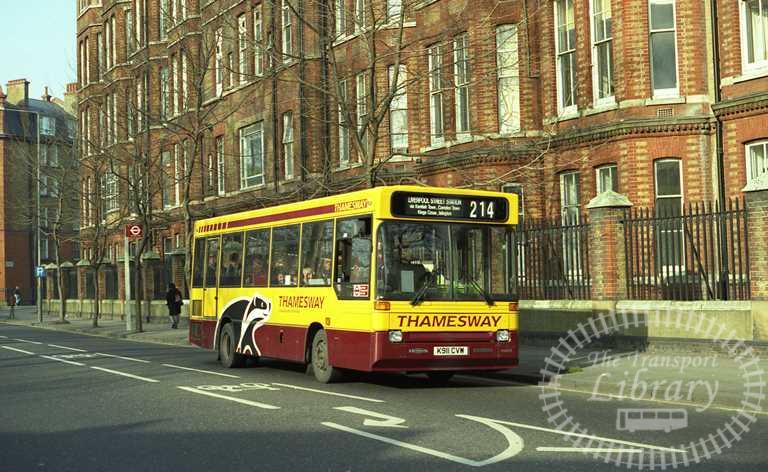 Thamesway Dennis Dart 911 K911CVW at St. Pancras in 1993 on route 214 - Russell Fell