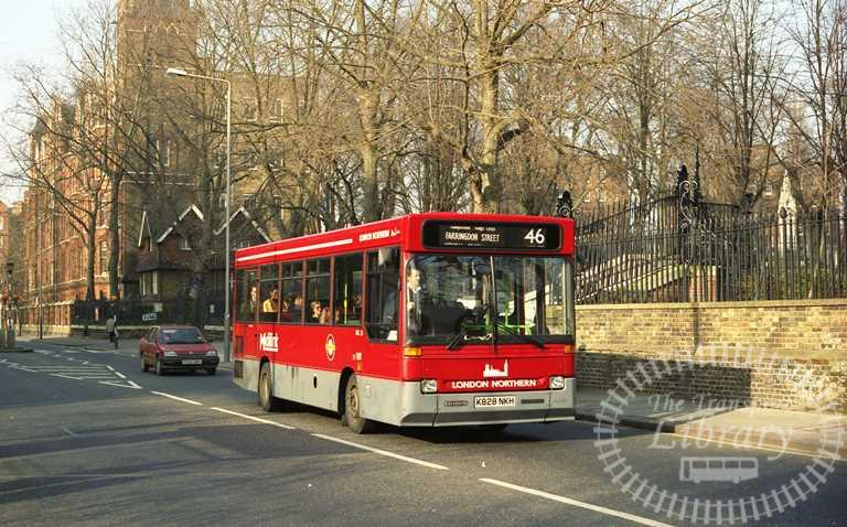 London Transport London Northern Dennis Dart Class DRL DRL28 K828NKH at St. Pancras in 1993 on route 46 - Russell Fell