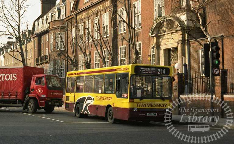Thamesway Dennis Dart 901 K901CVW at St. Pancras in 1993 on route 214 - Russell Fell