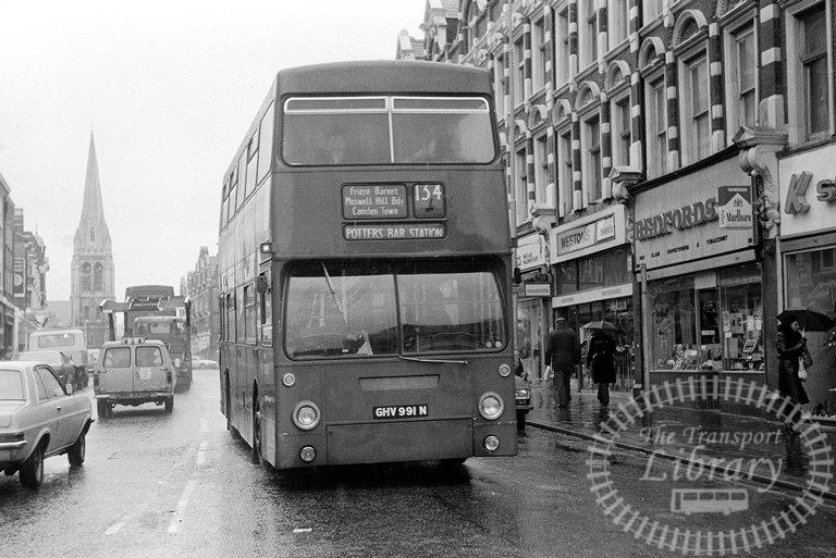 London Transport Green Line Daimler Fleetline Class DM DM991 GHV991N at Muswell Hill ,Vauxhall Bridge Road  in 1979 on route 134 - Russell Fell