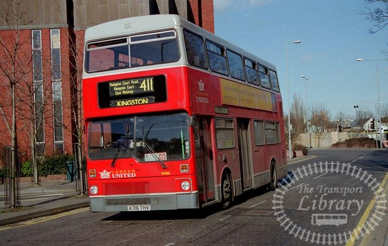 London United MCW Metrobus Class M M1016 A716THV at Kingston ,Queen Elizabeth Rd  in 1997 on route 411 - Russell Fell