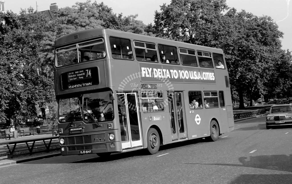 London Transport MCW Metrobus Class M M814 OJD814Y at Park Lane in 1986 on route 74 - Russell Fell