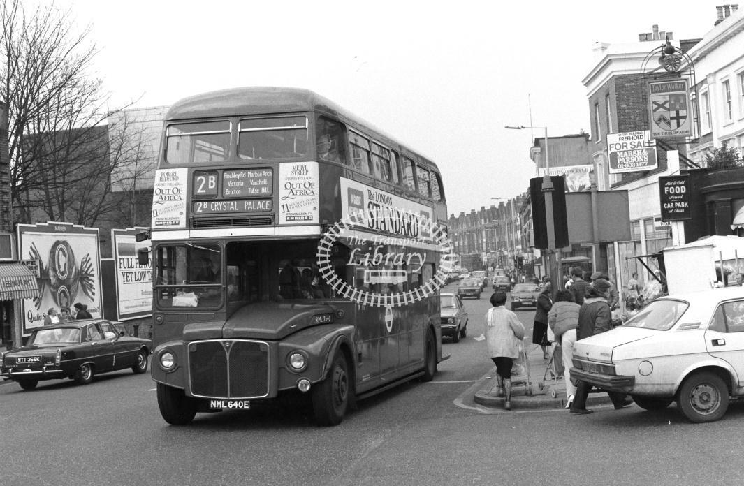 London Transport AEC Routemaster Class RML RML2640 NML640E at West Norwood ,Norwood Rd  in 1986 on route 2B - Russell Fell