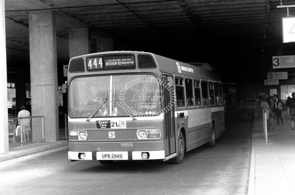 London Country Leyland National Class SNB SNB294 UPB294S at Slough ,Bus Station  in 1978 on route 444 - Russell Fell