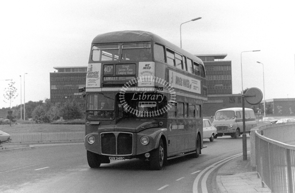 London Country AEC Routemaster Class RML RML2348 CUV348C at Slough ,Bus Station  in 1978 on route 407A - Russell Fell