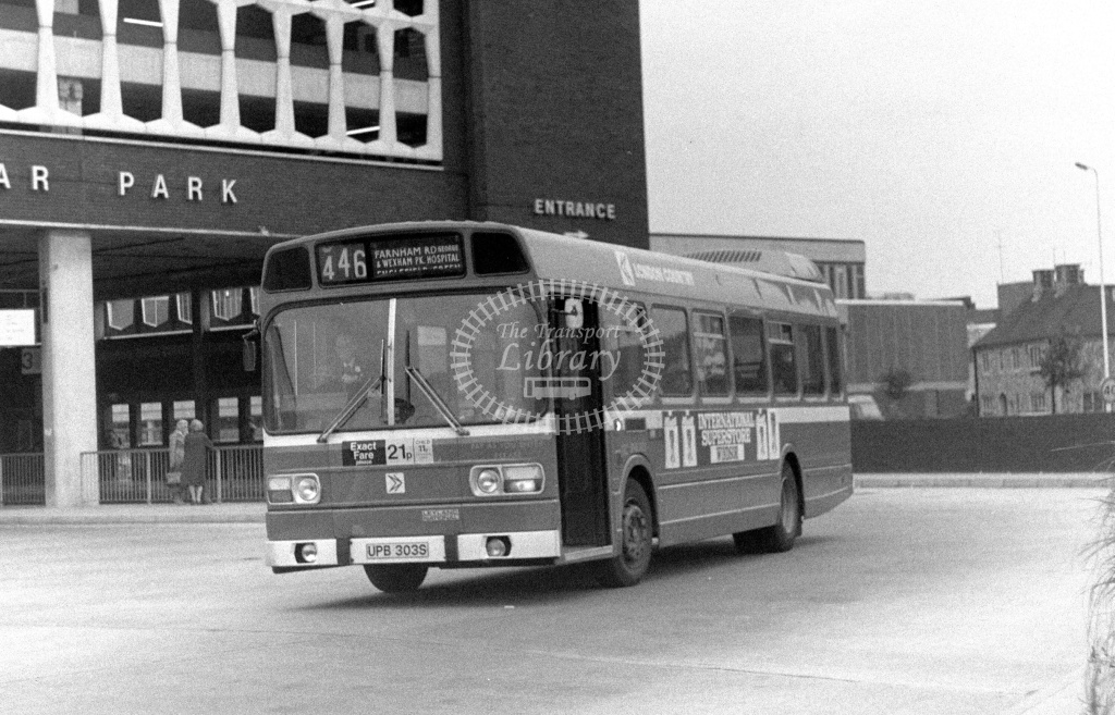 London Country Leyland National Class SNB SNB303 UPB303S at Slough ,Bus Station  in 1978 on route 446 - Russell Fell