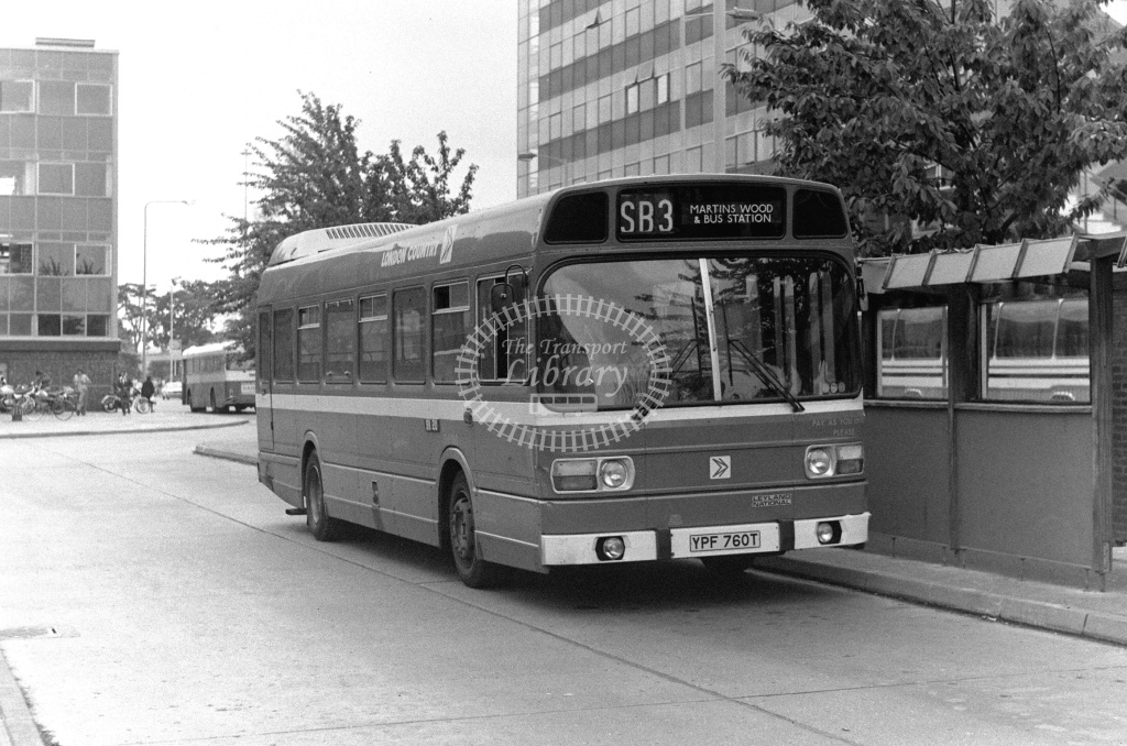 London Country Leyland National Class SNB SNB360 YPF760T at Stevenage ,Bus Station  in 1978 on route SB3 - Russell Fell