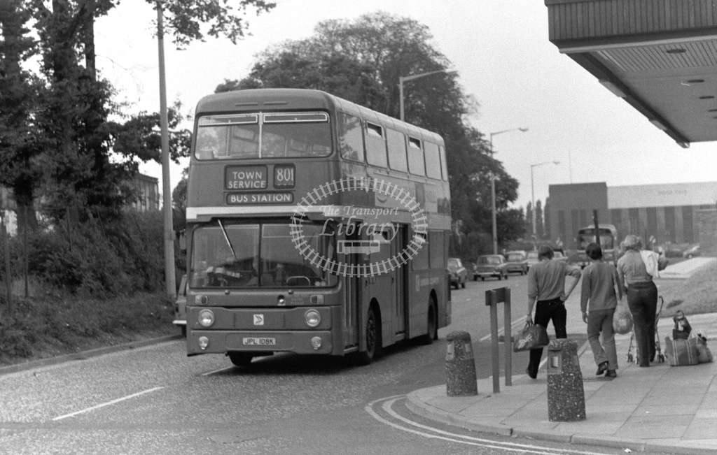 London Country Leyland Atlantean Class AN AN8 JPL108K at Stevenage ,Danesgate  in 1978 on route 801 - Russell Fell