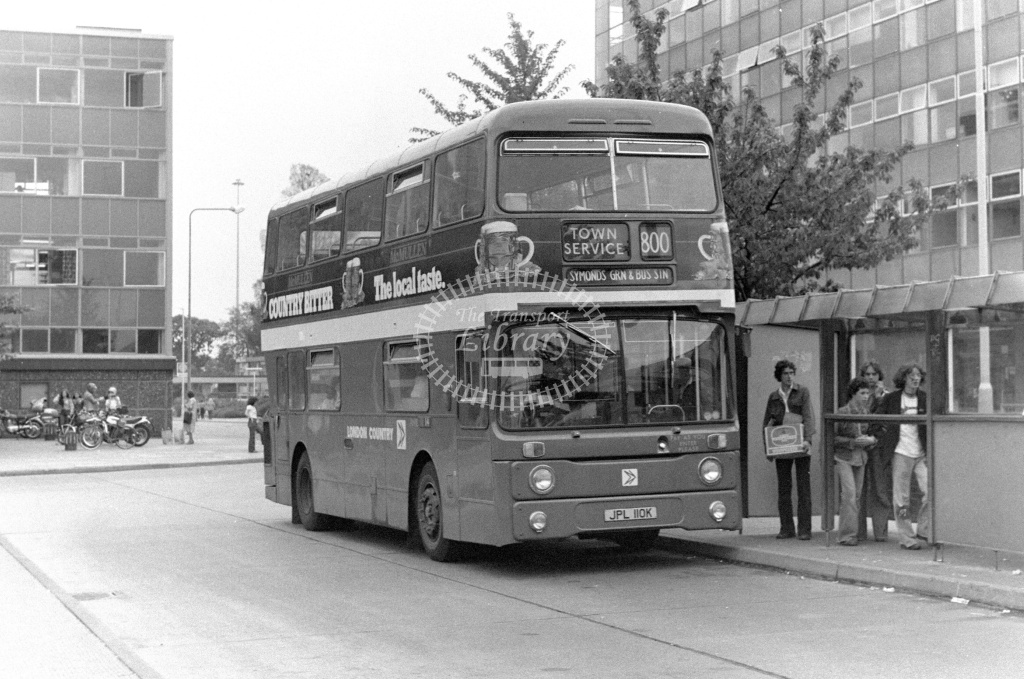 London Country Leyland Atlantean Class AN AN10 JPL110K at Stevenage ,Bus Station  in 1978 on route 800 - Russell Fell