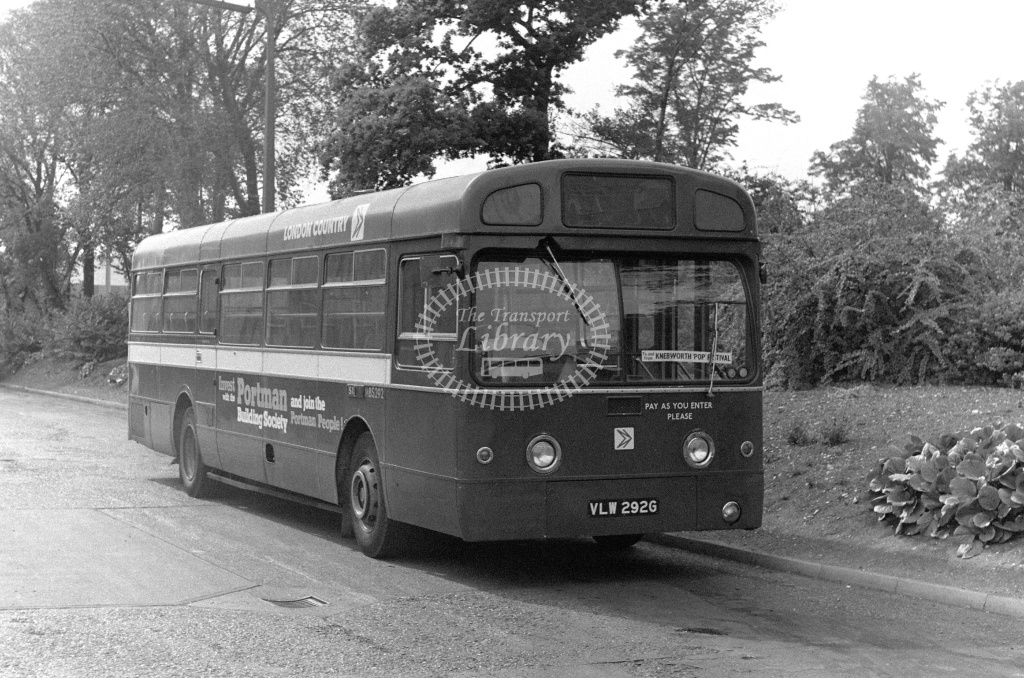 London Country AEC Merlin Class MBS MBS292 VLW292G at Stevenage ,LCBS Garage  in 1978 on route Unknown - Russell Fell