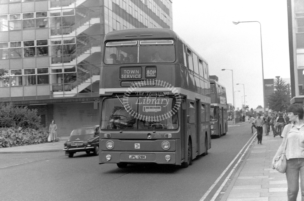 London Country Leyland Atlantean Class AN AN28 JPL128K at Stevenage ,Danestrete  in 1978 on route 801A - Russell Fell