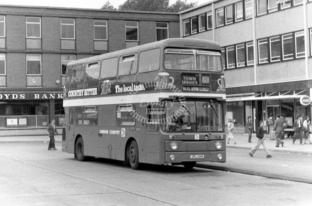 London Country Leyland Atlantean Class AN AN4 JPL104K at Stevenage ,Bus Station  in 1978 on route 801 - Russell Fell