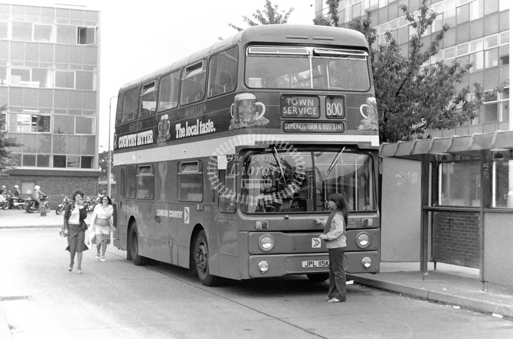 London Country Leyland Atlantean Class AN AN15 JPL115K at Stevenage ,Bus Station  in 1978 on route 800 - Russell Fell