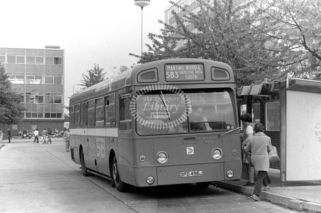 London Country AEC Swift Class SM SM496 DPD496J at Stevenage ,Bus Station  in 1978 on route SB3 - Russell Fell