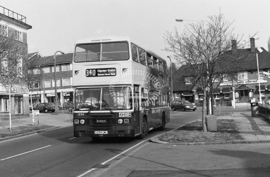 Luton and District Leyland Olympian Class LR LR94 G294UMJ at South Harrow ,Shaftesbury Av  in 1989 on route 340 - Russell Fell