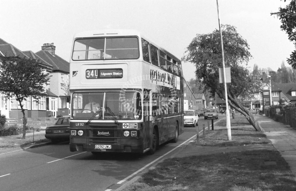 Luton and District Leyland Olympian Class LR LR92 G292UMJ at South Harrow ,Shaftesbury Av  in 1989 on route 340 - Russell Fell