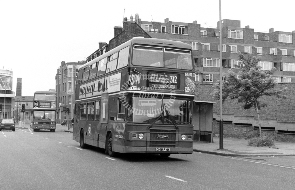 South London Leyland Olympian Class L L149 D149FYM at Peckham ,High Street  in 1989 on route 312 - Russell Fell