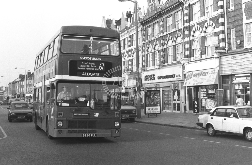 Leaside Buses MCW Metrobus Class M M1296 B296WUL at Stamford Hill ,Broadway  in 1989 on route 67 - Russell Fell