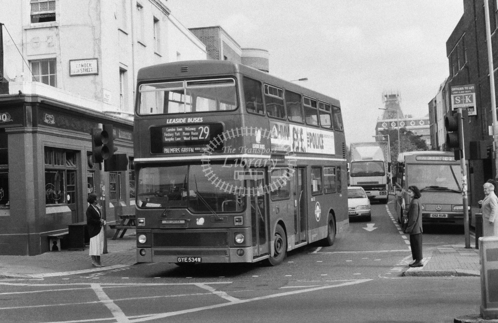 Leaside Buses MCW Metrobus Class M M534 GYE534W at Camden ,Pratt St  in 1991 on route 29 - Russell Fell