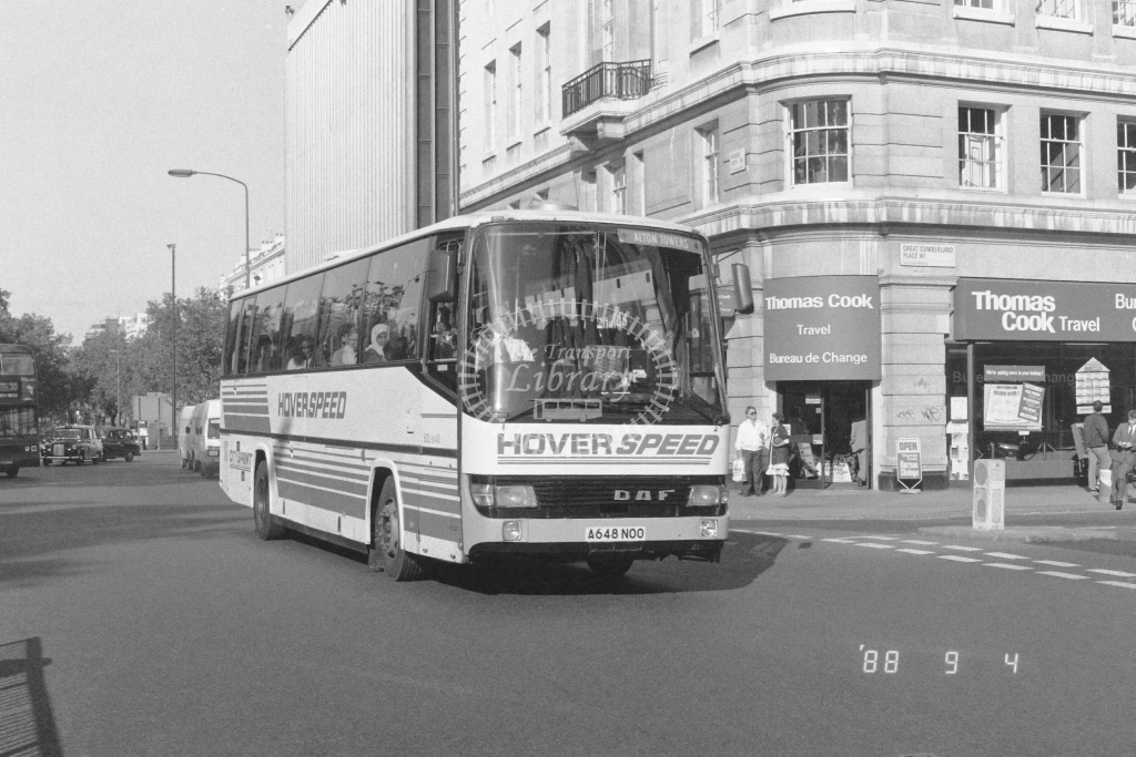 London Country South West Berkhof Esprit Class BDL BDL648 A648NOO at Marble Arch ,Palmers Hill  in 1988 - Russell Fell