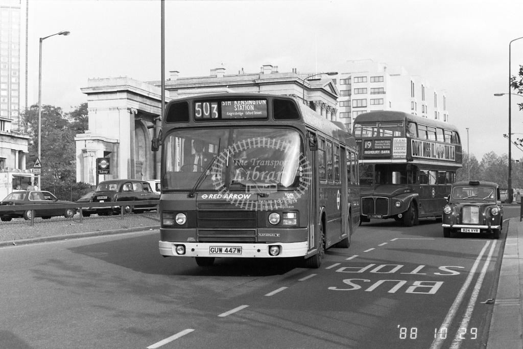 London Buses Leyland National Class LS LS447 GUW447W at Hyde Park Corner ,X  in 1988 on route 503 - Russell Fell