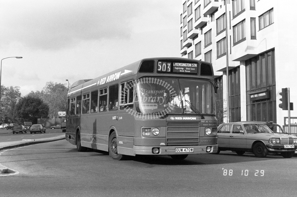London Buses Leyland National Class LS LS470 GUW470W at Hyde Park Corner ,X  in 1988 on route 503 - Russell Fell