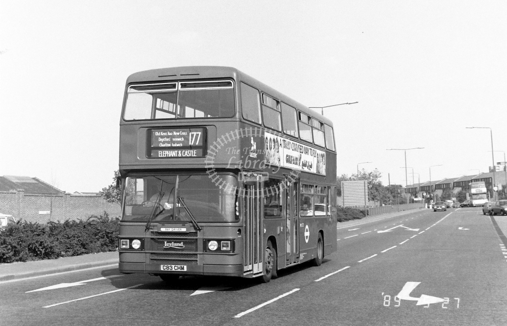 Selkent Leyland Olympian Class L L83 C83CHM at Woolwich  ,Plumstead  Rd.  in 1989 on route 177 - Russell Fell