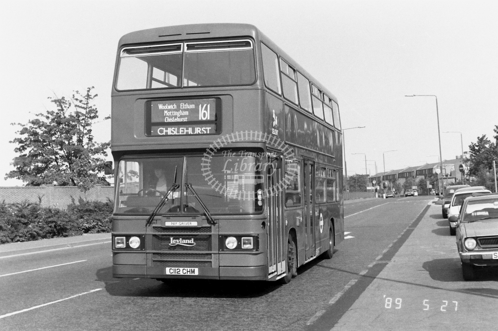 Selkent Leyland Olympian Class L L112 C112CHM at Woolwich  ,Plumstead  Rd.  in 1989 on route 161 - Russell Fell
