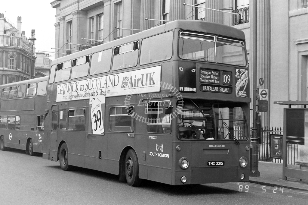 South London Daimler Fleetline Class DMS DMS2331 THX331S at Trafalgar Sq. ,Trafalgar Sq.  in 1989 on route 109 - Russell Fell
