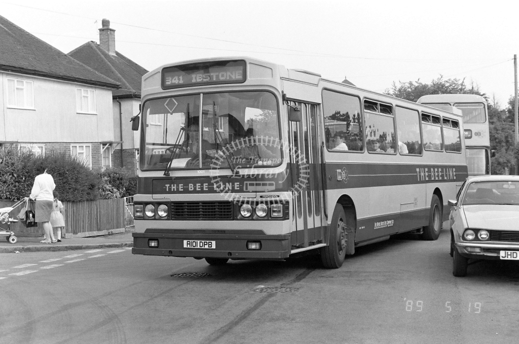 The Bee Line Dennis Falcon 1001 R101DPB at High Wycombe ,Chadwick St  in 1989 on route 341 - Russell Fell