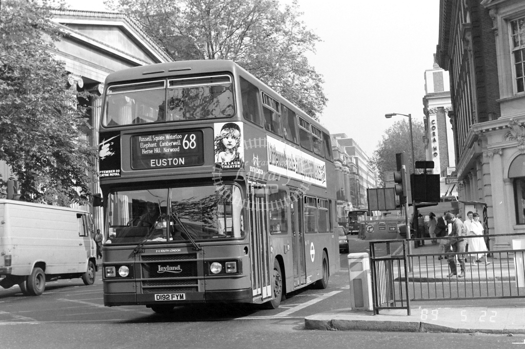 South London Leyland Olympian Class L L192 D192FYM at Euston ,Station  in 1989 on route 68 - Russell Fell
