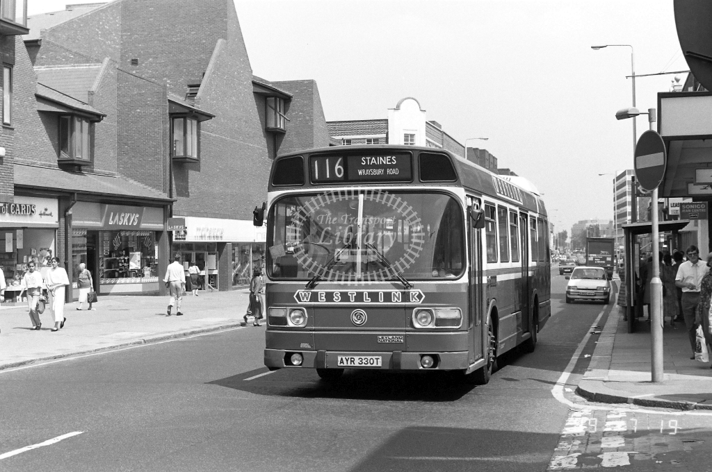 Westlink Leyland National Class LS LS330 AYR330T at Hounslow ,High Street  in 1989 on route 116 - Russell Fell