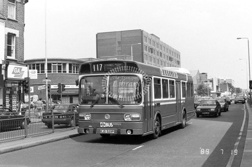 Westlink Leyland National Class LS LS29 KJD529P at Hounslow ,High Street  in 1989 on route 117 - Russell Fell