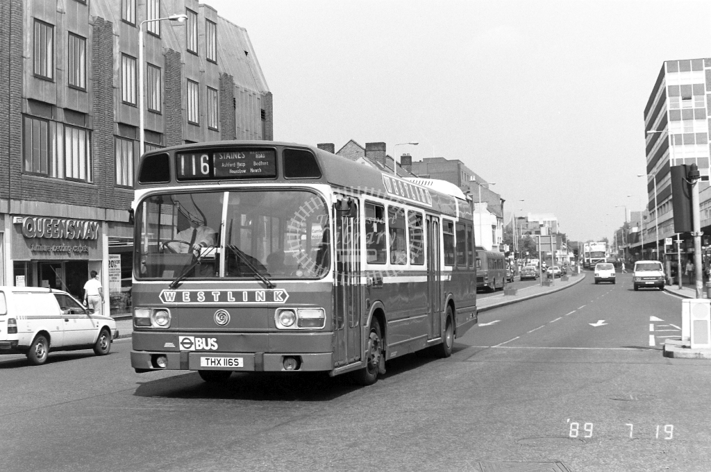 Westlink Leyland National Class LS LS116 THX116S at Hounslow ,High Street  in 1989 on route 116 - Russell Fell