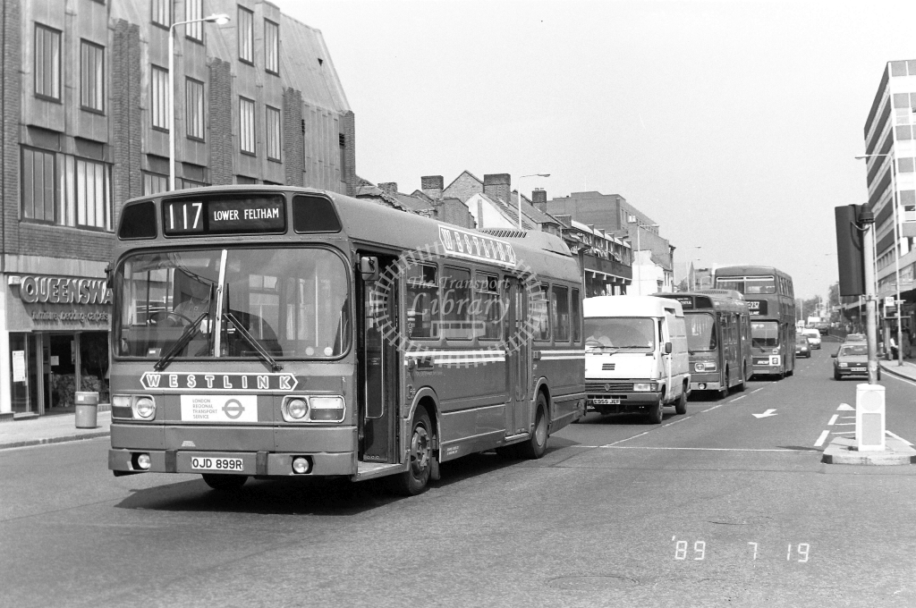 Westlink Leyland National Class LS LS99 OJD899R at Hounslow ,High Street  in 1989 on route 117 - Russell Fell