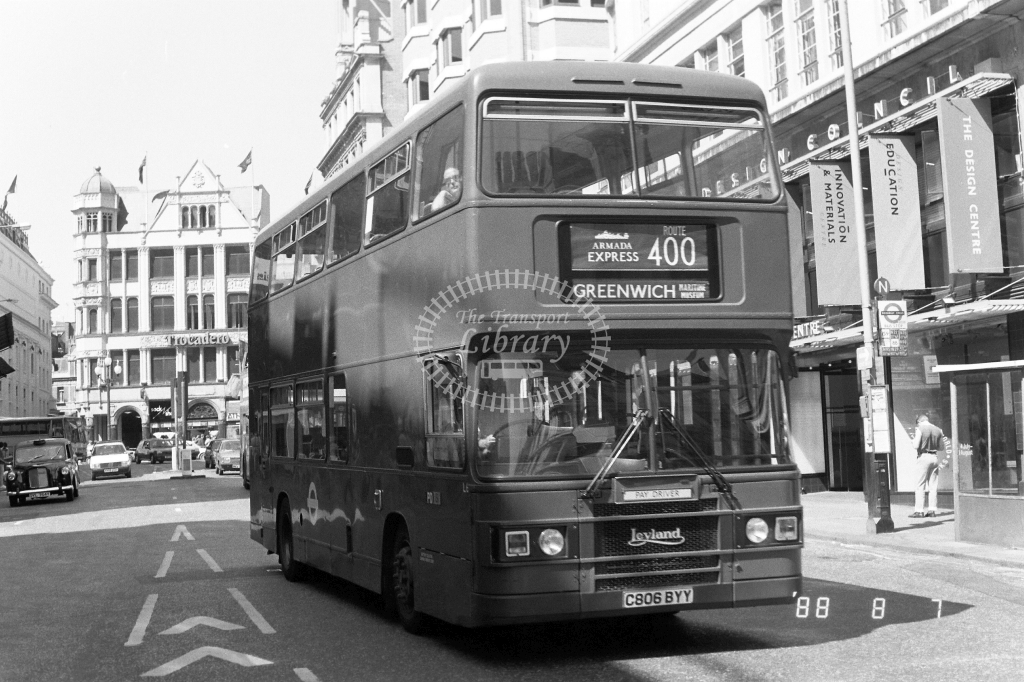 London Transport Leyland Olympian Class L L6 C806BYY at Piccadilly ,Haymarket  in 1988 on route 400 - Russell Fell