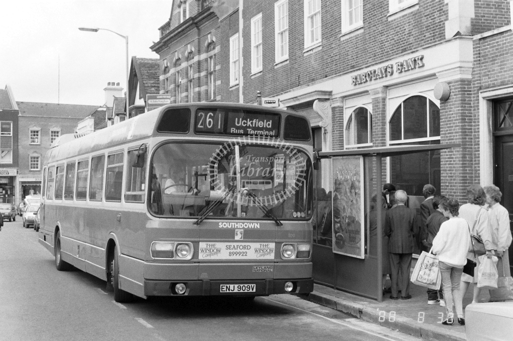 Southdown Leyland National 109 ENJ909V at East Grinstead ,High St  in 1988 on route 261 - Russell Fell