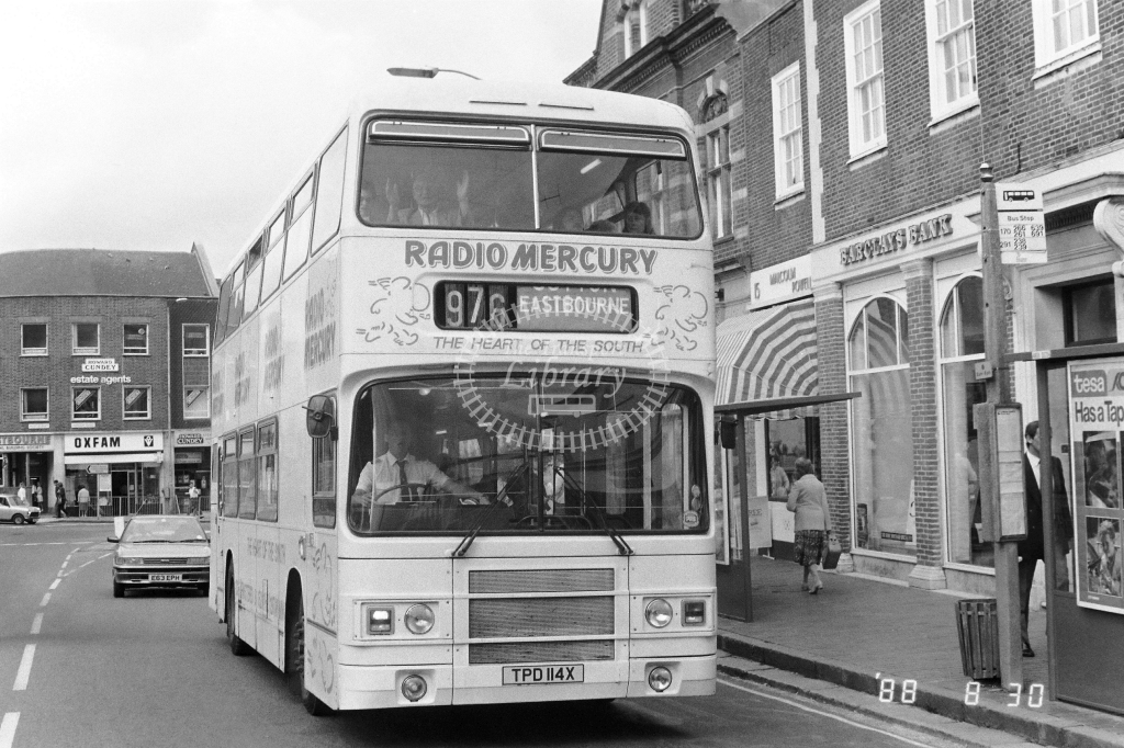 London Country South  West Green Line Leyland Olympian Class LR LR14 TPD114X at East Grinstead ,High St  in 1988 on route 976 - Russell Fell