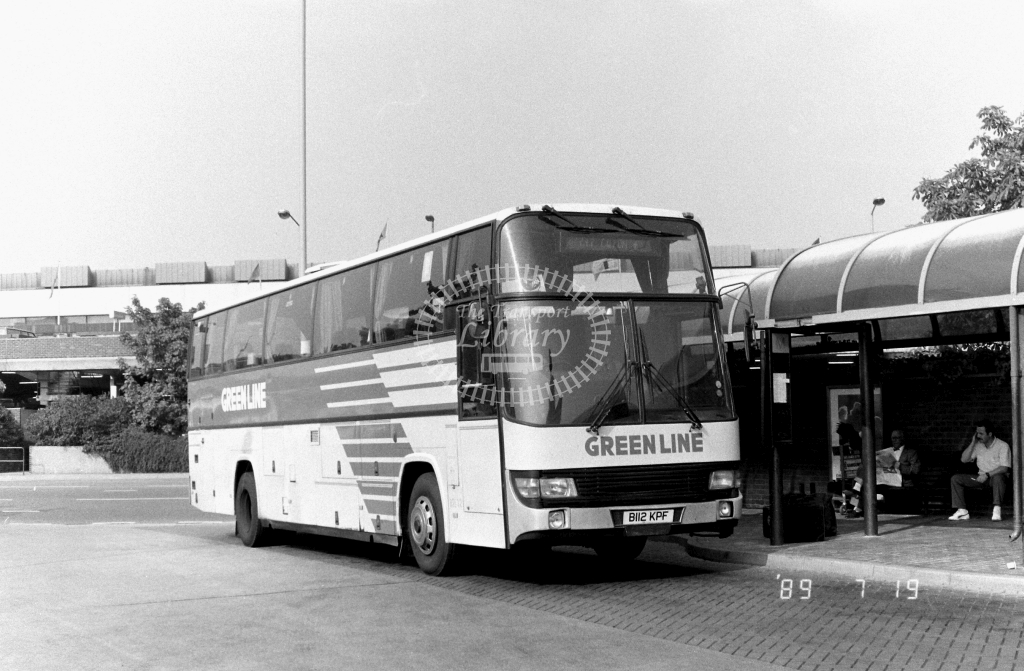 London Country South  West Green Line Leyland Tiger Class BTL BTL12 B112KPF at Heathrow ,Airport  in 1989 on route 747 - Russell Fell
