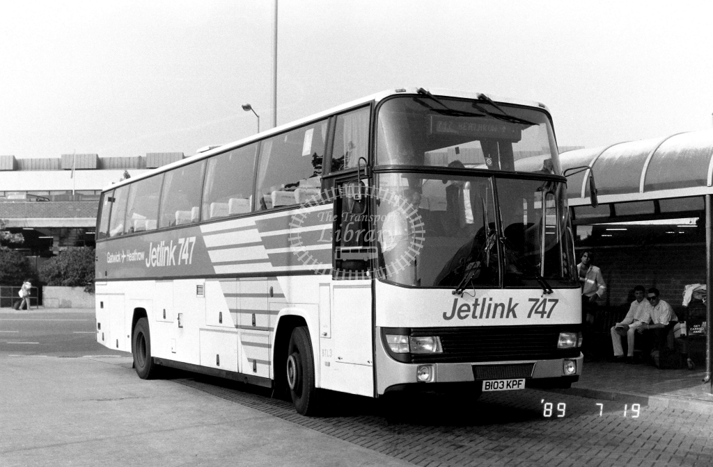 London Country South  West Jetlink Leyland Tiger Class BTL BTL3 B103KPF at Heathrow ,Airport  in 1989 on route 747 - Russell Fell