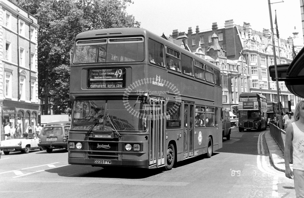 South London Leyland Olympian Class L L239 D239FYM at Kensington ,High Steet  in 1989 on route 49 - Russell Fell