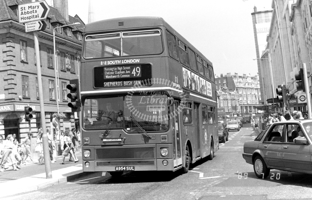 South London MCW Metrobus Class M M954 A954SUL at Kensington ,High Steet  in 1989 on route 49 - Russell Fell