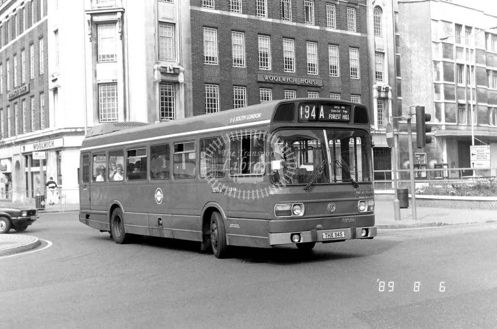 South London Leyland National Class LS LS114 THX114S at East Croydon ,George St.  in 1989 on route 194A - Russell Fell