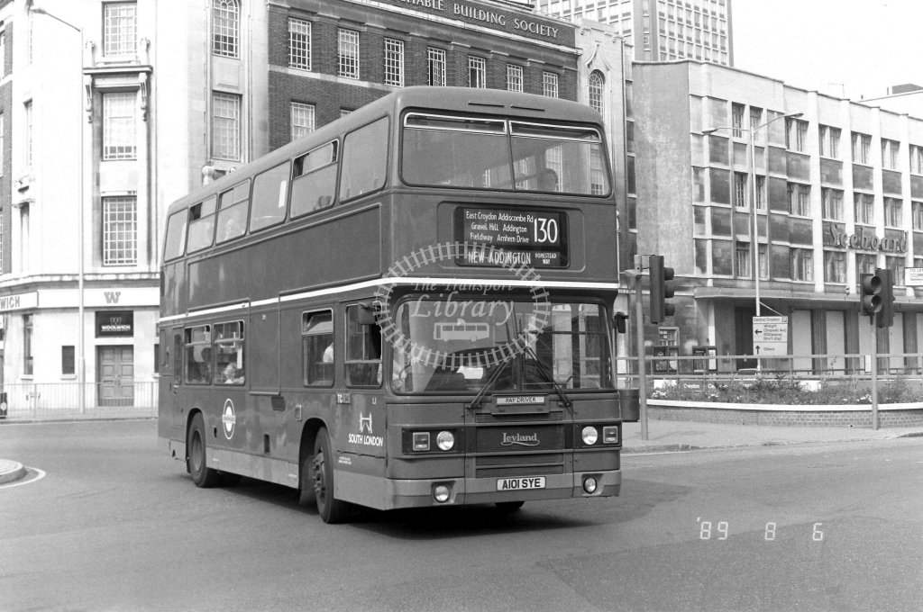 South London Leyland Olympian Class L L1 A101SYE at East Croydon ,George St.  in 1989 on route 130 - Russell Fell