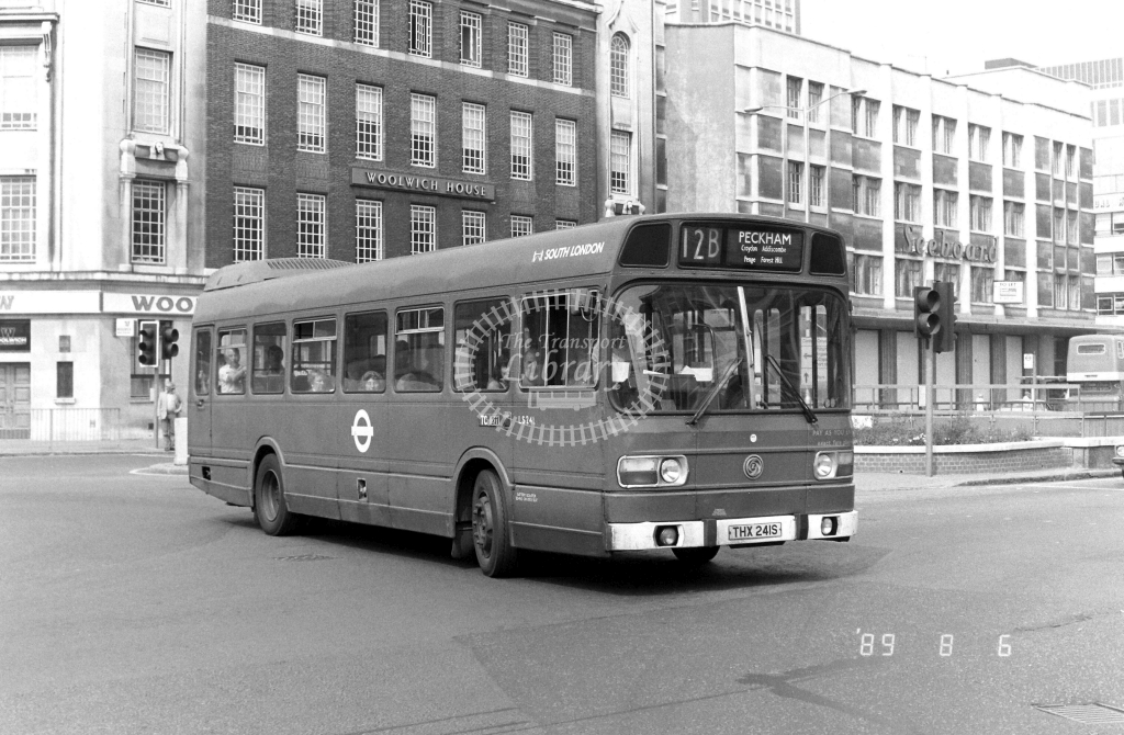 South London Leyland National Class LS LS241 THX241S at East Croydon ,George St.  in 1989 on route 12B - Russell Fell