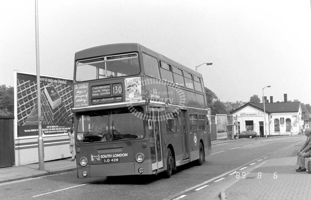 South London Daimler Fleetline Class DMS DMS2421 OJD421R at West Croydon ,Station Rd.  in 1989 on route 130 - Russell Fell