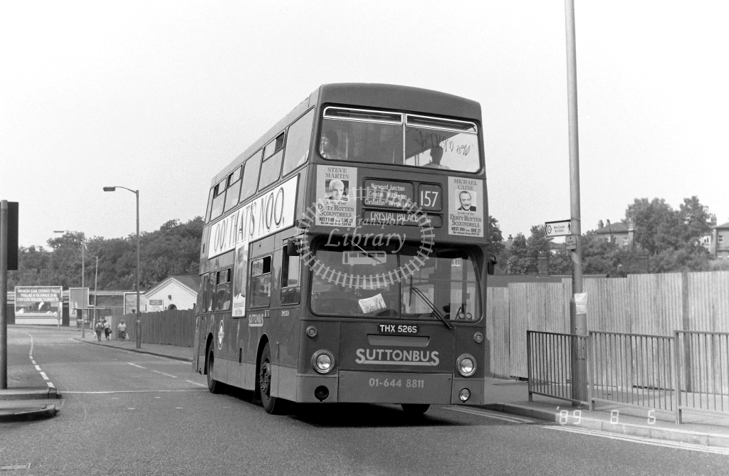 Sutton Bus Daimler Fleetline Class DMS DMS2526 THX526S at West Croydon ,Station Rd.  in 1989 on route 157 - Russell Fell