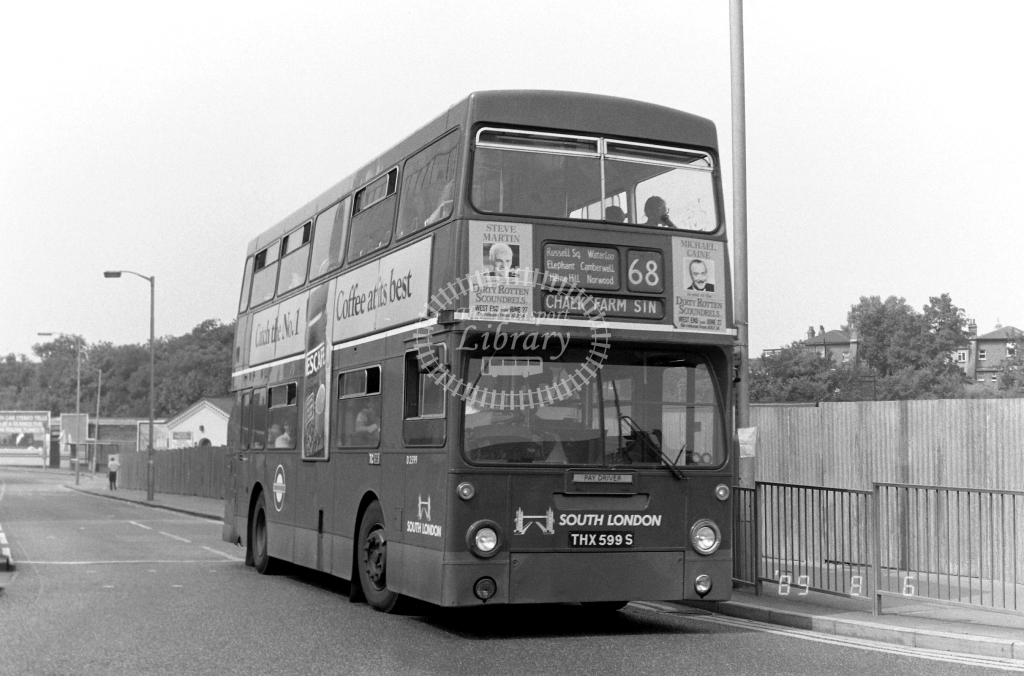 South London Daimler Fleetline Class DMS DMS2599 THX599S at West Croydon ,Station Rd.  in 1989 on route 68 - Russell Fell